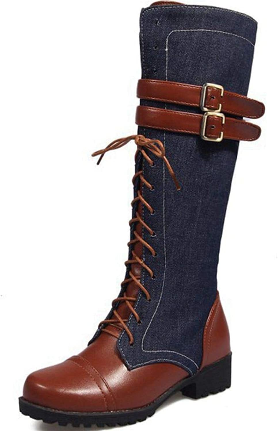 Kaloosh Women's Fashion Buckle Dazzling Neutral Buckle Lace up Synthetic Round Toe Comfort Riding Boots Knee High Boots