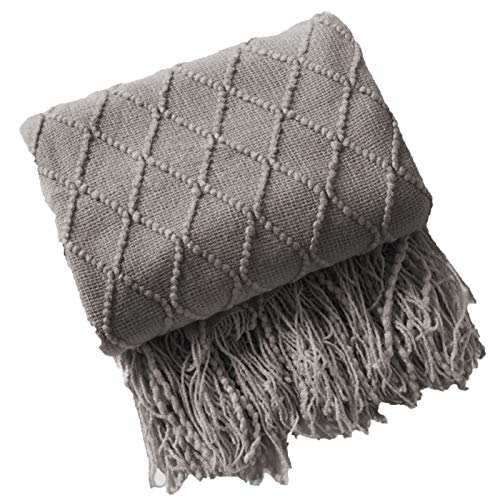 GAOQIANGFENG Manta de punto, ligera, suave y cálida, con patrón de tejido, manta de punto para sofá, cama, decoración del hogar, color gris |||||130 x 230 cm