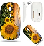 Liili Wireless Mouse White Base Travel 2.4G Wireless Mice with USB Receiver, Click with 1000 DPI for Notebook, pc, Laptop, Computer, mac Book Image ID 31907656 Beautiful Sunset Over a Sunflower Field