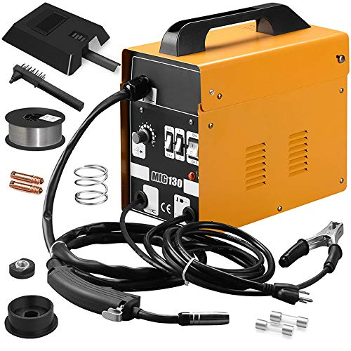 130 MIG Flux Core Wire Automatic Feed Welding Machine Strong for Home DIY Repairing (Yellow)