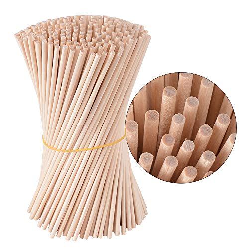 300pcs Palillos de Madera Redondos 15cm Varillas Madera Natural Palitos para Manualidades DIY Proyectos Artesanías Modelo de Construcción Juegos Educativos (Diá: 3mm)