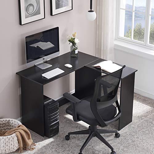 Symylife L-förmiger Schreibtisch für Gamer Home Office-Schreibtisch Gaming-Schreibtisch Eckschreibtisch Laptop Study Workstation 120 * 108 * 75 cm, Tinte