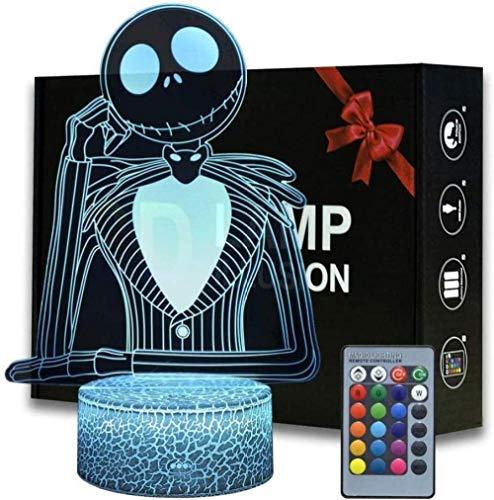 Lámpara de ilusión 3D LED de luz nocturna de Halloween Ciudad Calabaza King Jack Skellington Anime Lámpara con mando a distancia Jack Skellington Decoración, creativo para niños y fans
