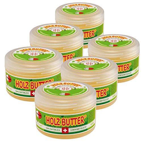 Renuwell 6 x 250 ml Holz-Butter Möbelpflege Holzpflege 100% Lebensmittelecht Spar-Se