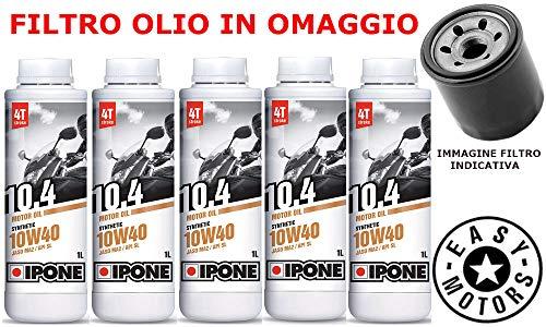 Desconocido Kit DE Mantenimiento DE Motor DE Aceite 10W40 IPONE + Filtro Olio Honda VTX C (SC52) 1300 04/09