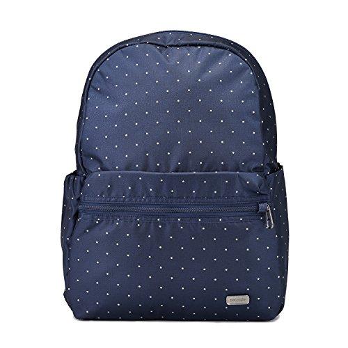 Pacsafe Daysafe Backpack, Anti-Diebstahl Rucksack, Daypack für Damen, Reiserucksack, Handgepäck mit Sicherheitstechnologie, 16 Liter, Blau gepunktet/Navy Poka Dot
