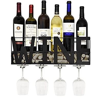 Black Metal Wall Mounted Wine Rack and Glass Holder with Cork Storage Decorative Kitchen Hanging Shelf Bottle Glasses Bar Stemware Display for Living Room Decor Accessories by Gift Boutique