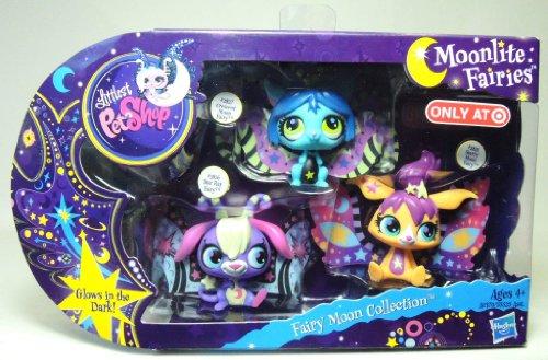 Littlest Petshop - A0370 - Exclusive - Fairy Moon Collection - Moonlight Fairies - #2825 Starry Moon Fairy, #2826 Star Ray Fairy & #2827 Crecent Moon Fairy - brillent dans le noir