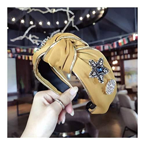 Luxury Boutique dei Capelli delle Donne Accessori Diamanti Tessuto Cerchiati d'oro Super Flash Medio Annodati A Tesa Larga Fascia Hairband Collana Ragazza Donna (Color : Yellow)