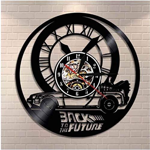 SHENGZHI Reloj de Pared de Diseño, Registro Retro Regreso al Futuro Reloj de Vinilo Movimiento de Cuarzo Silencioso Hecho A Mano Negro Pared Creativa Decorativa Decoración de Arte Mecánico