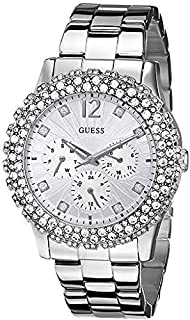 GUESS Women U0335L1 Silver-Tone Multi-Function Watch with Genuine Crystal Accents