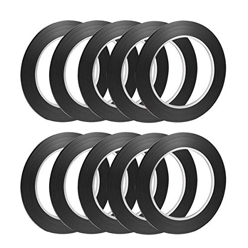 1/8 Tape Black Matte 10 Pack 1/8'' inch 3 mm Chart Tape/Whiteboard Gridding Tape/Artist Tape/Model Hobby Tape/Dry Eraser Board Tape