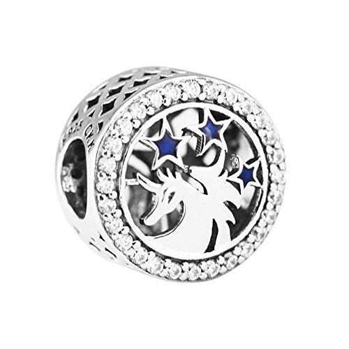 CKK Charm for Pandora Bracelets 925 Sterling Silver Reindeer Blue Star Unicorn Charm with Blue Crystal for Teen Adult/Friendship Gift Idea
