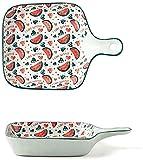 Bandeja de Fuente para Horno Cerámica Cakeware Lasagna Pans para cocinar Cena Cena Cocina Microondas Horno Horno Bandeja Cerámica Para Hornear Utensilios (Color : C7, Size : 22x15.7x3.8cm)