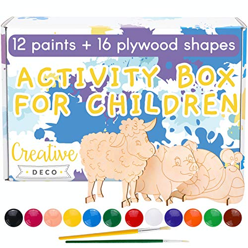 Creative Deco Temperas Pintura Lavable + Set Artístico para Niños | 16 Formas de Animales con 12 x 20 ml Botes Pinturas & 2 Pinceles | Recortes de Madera Contrachapada | Normas de Seguridad de la UE