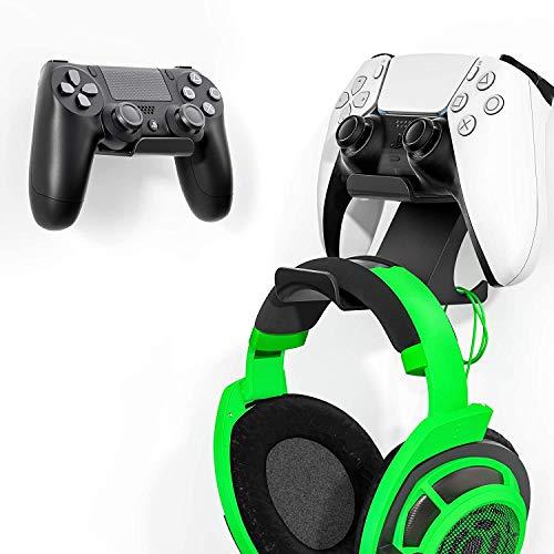[Aktuellste Version] Controller Kopfhörer Halter für PS4 PS5 Xbox One Switch Pro Gamepad, 3M Klebstoff/Schraube Controller Kopfhörer Wandhalterung 2 Pack, Shark 12 Pro