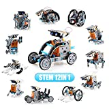 LYiUP Solar Robot Kit 12 in 1 STEM Robot Toy Education Learning Science DIY Solar Powered Building Toys for Kids Age 8+ Years Old Boys Girls