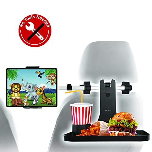 """Macally Headrest Tablet Holder for Car with Food Tray - Fits Phones and Tablets 4.5"""" to 10"""" Wide - Great for Backseat Entertainment and Snacks - 360° Adjustable iPad Car Mount with Foldable Car Table"""