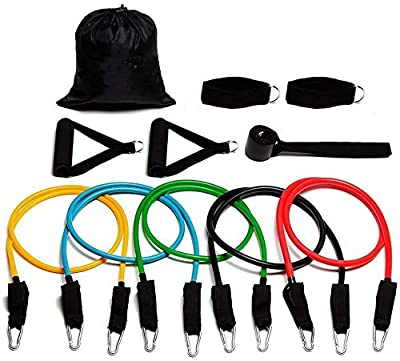 Skilium Resistance Bands Set Workout Bands 11 PCS, Exercise Tube Bands, Door Anchor, Ankle Straps, Carry Bag, Portable Home Gym Accessories - Stackable Up to 150 lbs.