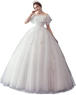 Bride Ruffles Wedding Dress Formal Party Princess Gown Off Shoulder Tulle Fluffy Skirt beautiful
