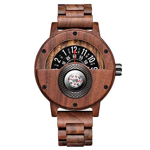 Gorben Kompass Plattenspieler Herren Holzuhr Rindsleder Armband handgefertigte Naturholzuhren Quarz Sportuhr Geschenkbox (Gorben-273-1)