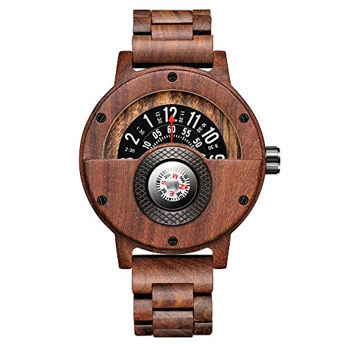 GORBEN Compass Wooden Watches Men Creative Turntable Lightweight Quartz...