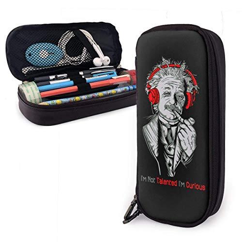 Federmäppchen Große Kapazität Hohe Kapazität Federmäppchen Schreibtisch Organizer Praktischer Taschenhalter mit Reißverschluss - Einstein Ich bin nicht begabt Ich bin neugierig