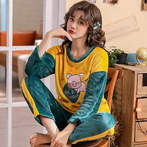 WDDYYBF Pijamas Mujer,Otoño Invierno Cálido Pijamas Set para Mujeres Hogar Animal Cerdo Impresión Thicken Flannel Mujeres Pajama Sets Pantalón Largo Set Señoras Pijama Ropa De Hogar, M
