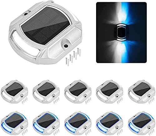VOLISUN Solar Driveway Lights Dock Deck Lights 12 Pack,2 Colors in 1, LED Wireless Solar Powered Waterproof Outdoor Warning Step Lights for Driveway Sidewalk Pathway (2 Colors Lighting,White/Blue)
