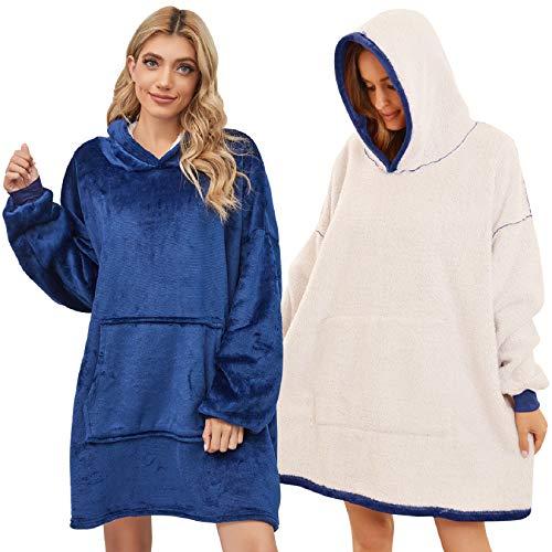 Tuopuda Sweat à Capuche Couverture Pull Capuchon Sherpa Couvertures Adulte Femme Homme Unisexe Épaisse Sweat Automne Hiver Garder au Chaud Peignoir Réversible Hoodie Plush Sweatshirt (Bleu 2)