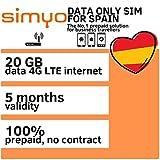 SIMYO Tarjeta SIM De Datos Prepago Profesional Para España y Europa 20 GB LTE 4G Internet rápido.
