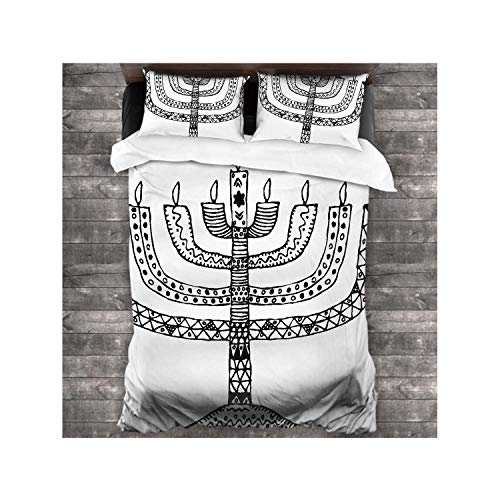 Dxichy Hanukkah.Holiday.Candle.Doodle,100% Microfiber 3-Piece Bedding Set for Bed,Soft 1 Quilt Cover and 2 Pillowcases Hand Draw Candle 86''x70''