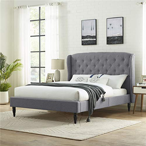 Classic Brands Coventry Upholstered Platform Bed | Headboard and Metal Frame with Wood Slat Support, King, Light Grey