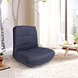 Crestlive Products Easy Lounge, Adjustable Padded Floor Chair with Back Support, Comfortable Folding Chair with Backrest for Home and Office, Floor Pillow for Meditation or as Gaming Chair (Bluish)…