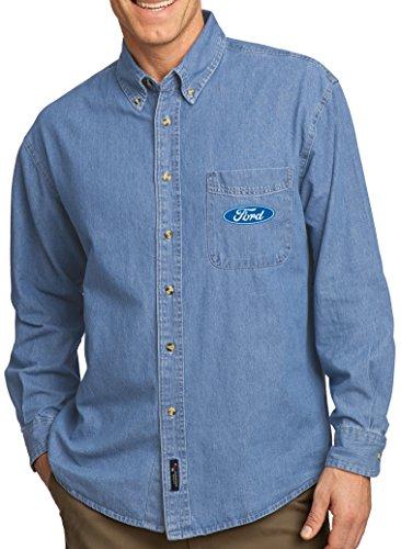 Mens Ford Oval (Pocket Print) Long Sleeve Denim Shirt, Medium Faded Blue