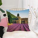 Purer Weicher Kissenbezug Kissenhülle Set,Lavendel, Abtei von Senanque in Frankreich Architektur...