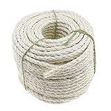 OTOTEC Cuerda trenzada de sisal para mascotas de 50 m para jardín, terraza, rascador de mascotas, árbol de gato, 0,8 cm, color beige