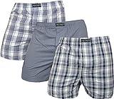 normani 3 x Herren Web Boxershorts aus Reiner Baumwolle Farbe Grau Größe M