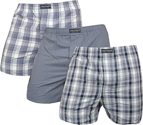 normani 3 x Herren Web Boxershorts aus Reiner Baumwolle Farbe Grau Größe L