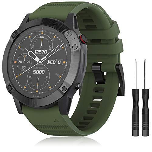 TOPsic Correa para Garmin Fenix 5X, Suave Silicona Banda de Reemplazo para Fenix 5X Sapphire Multisport 51mm GPS Watch/Fenix 3/ Fenix 3 HR/Fenix 5X Plus/Fenix 6X/Fenix 6X Pro