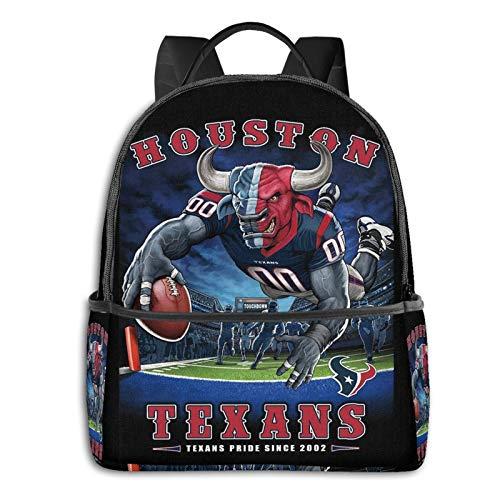 VIINI T-rends International N-FL Houst-on Texans Backpack Fashion Durable Bag Travel School Laptop Backpack for Students/Men/Women/Kids,with Bottle Side Pockets