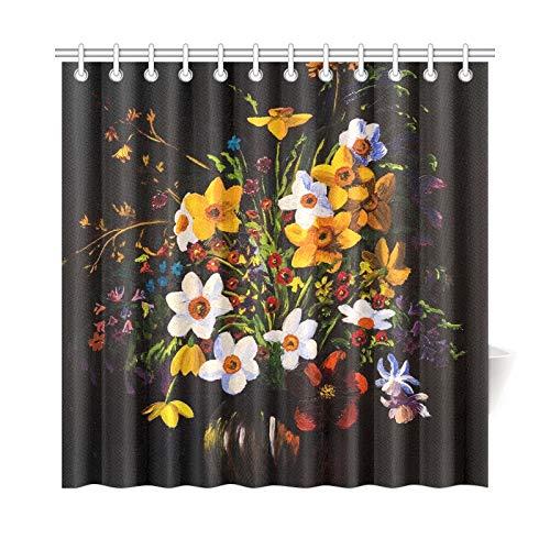 LIANGWE Wohnkultur Bad Vorhang Ölgemälde Frühlingsblumen Vase Auf Polyester Wasserdicht Duschvorhang Für Badezimmer, 72X72 Zoll Duschvorhänge Haken Enthalten