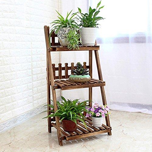 3 Tier Leiter Blumenregale Holz Pflanzen Regal mit Zaun für Pflanzen Blumentöpfe Halter Blumenständer Ecke Display Regale Garten Speicherregal für Indoor oder Outdoor Wohnzimmer, Balkon 50x37x98cm