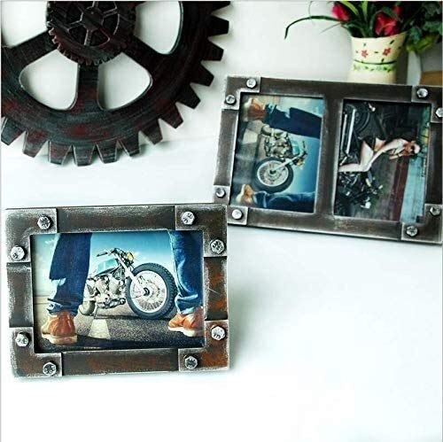 TQJ Photo Frames 6x4 Photo Frame Set Retro Industrial Style Home Wood Distressed Antique Iron Ornaments Double Photo Frame Desktop Display Photo Frame Valentines G for Him