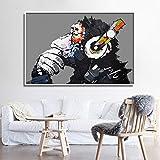 GUDOJK wandmalereien Street Art Ölgemälde AFFE Leinwand Decorativos Pop Art Liebe Bild Drucken Abstrakte Wandkunst Poster Wohnkultur-40x60cm