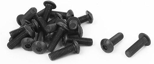 مسامير رأس بزر مأخذ سداسي من سبيكة فولاذية مقاس 5 × 16 مم أسود اللون 20 قطعة من uxcell