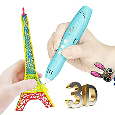 3D Pen for Kids Aged 4+, 3D Printing Pen for 3D Thinking Training, Wireless 3D Pen with 2 Feeding Speeds, Built-in Rechargeable Battery, 1.75cm PCL Filament (Blue)