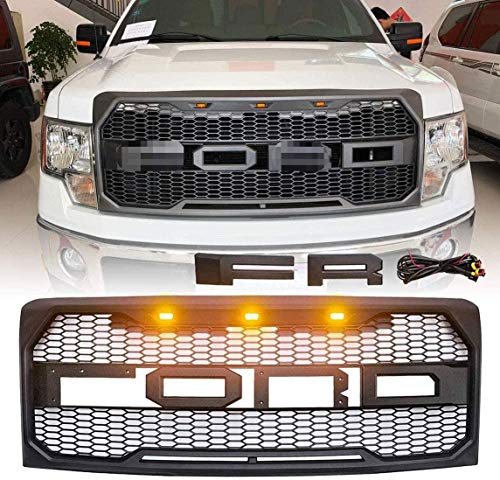 Front Grill for F150 Fd F-150 2009 2010 2011 2012 2013 2014 Raptor Style Grille Matte Black