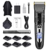 GOOLEEN Professional Hair Clippers for Men Cordless Hair Clipper Set Beard Trimmer Hair Trimmer IPX7 Waterproof USB Rechargeable Electric Hair Cutting Kit with Hairdressing Cape LCD Display