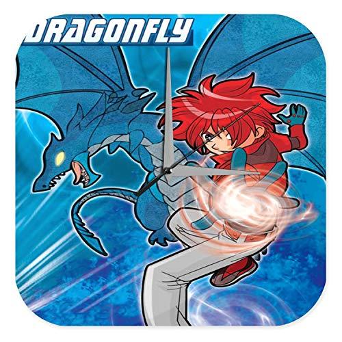 LEotiE SINCE 2004 Horloge Murale DÈcor De CrËche Mignon Marke Dragon de Manga Libellule Imprimee Plexiglas 25x25 cm